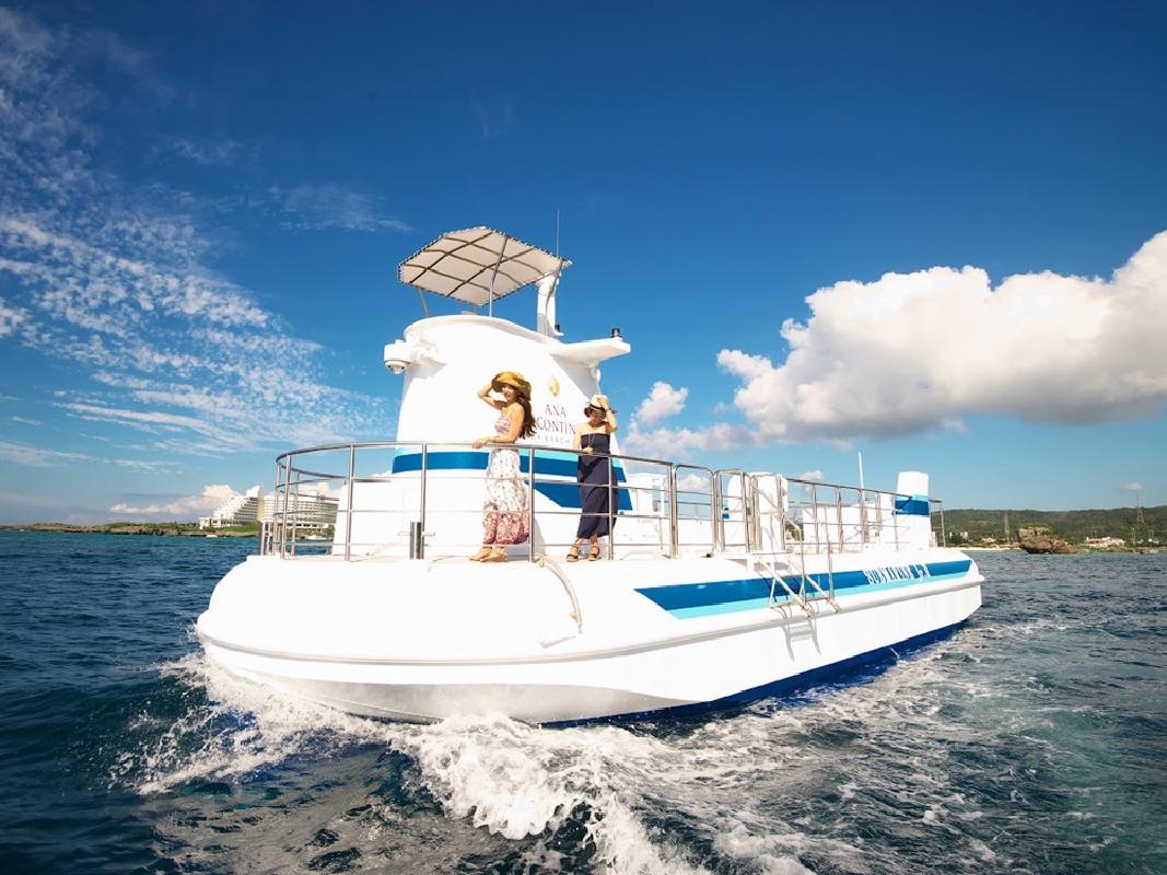 海中展望船「サブマリンJr.」半潜水艦型グラスボートで動く水族館へ!<0〜2歳無料・ANAインターコンチネンタル万座ビーチリゾート内>